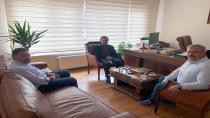 Başkan Yazıcı Mustafa Ataş'ı Yeni Ofisinde Ziyaret Etti